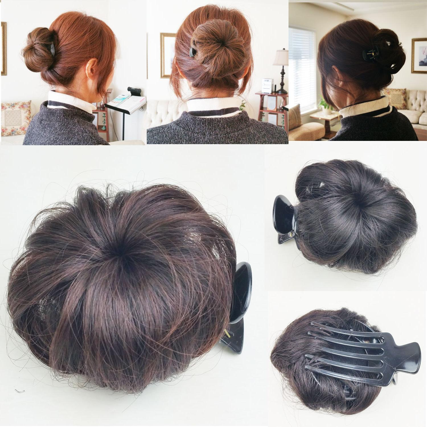 hair bun clip pin in synthetic extension