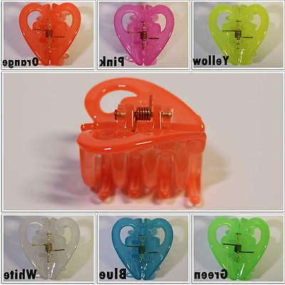 Hair Heart Clips Neon Color Small 1.5 inch Jaw Clamp Accesso