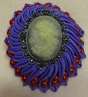 Handmade Dome Ribbon Purple Rosette w Red Beads & Cameo Hair