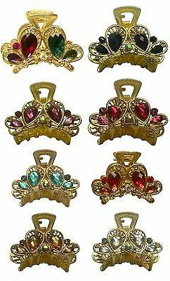 Bella Jaw Clip Hair Clip Small Bling Bling Stones Gold Tone