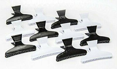 Diane butterfly clamps, black and white, 12 pack,