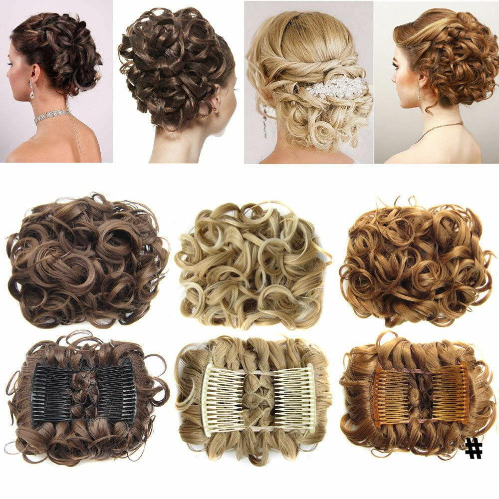 LARGE Comb Clip Curly Hair Chignon Updo Hairpiece Extension Bun A4