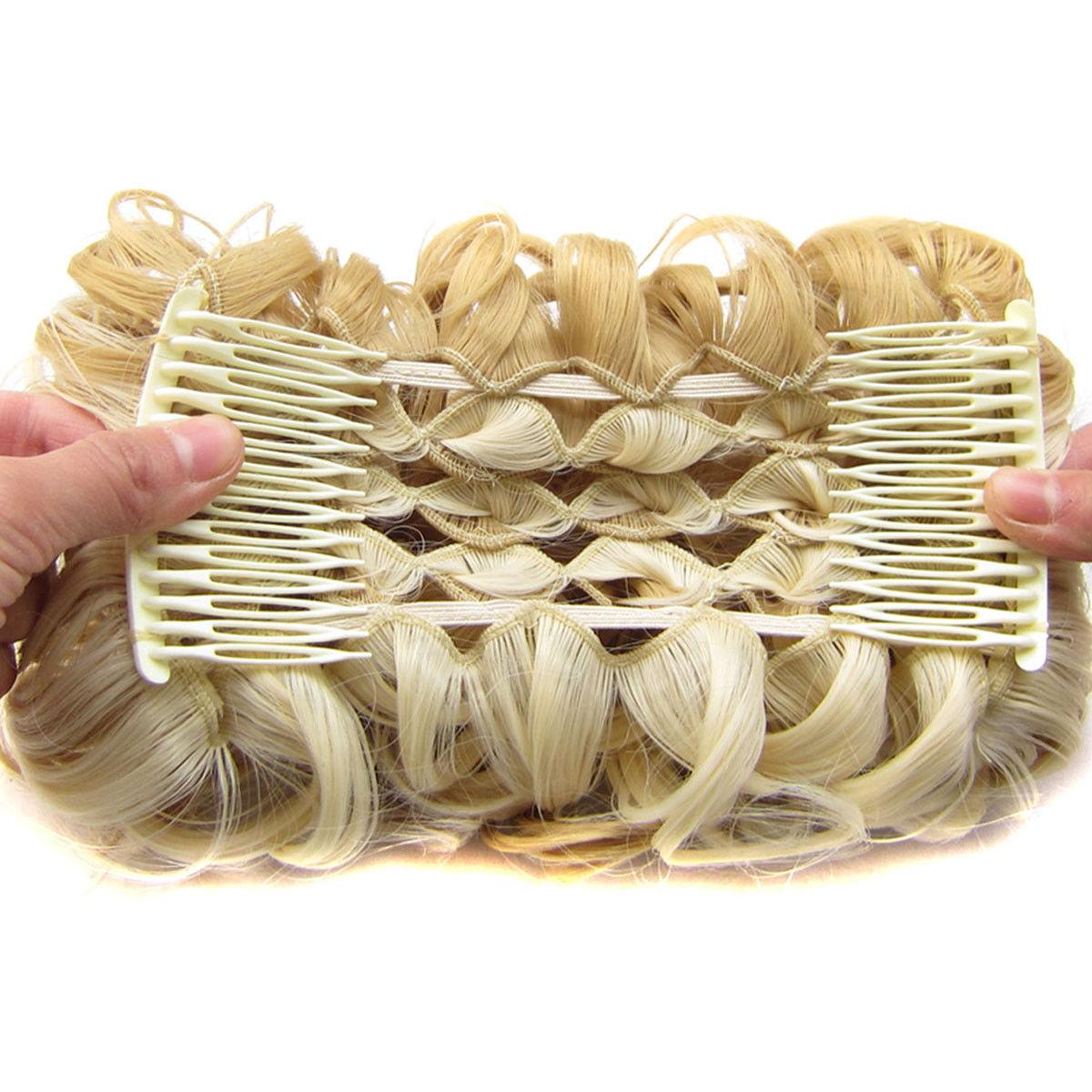 LARGE Clip In Curly Updo Hairpiece Bun A4