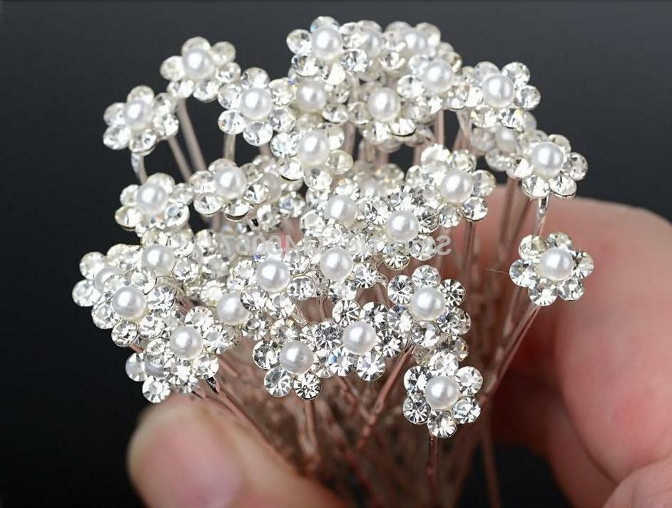 Lot 20 pcs Pearl/White Diamante Crystal Hair Pins Clips Prom