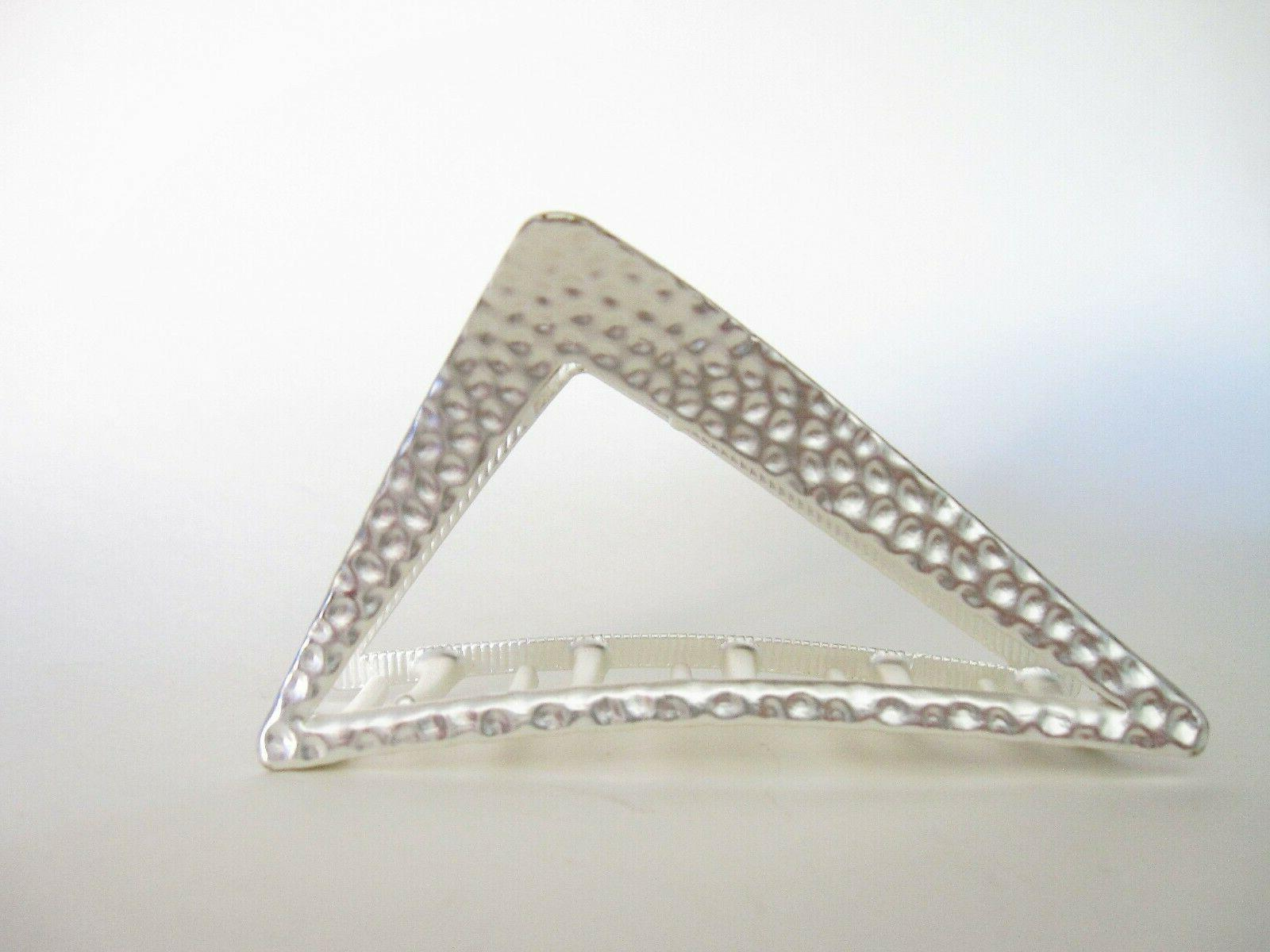 Matte silver textured triangle metal claw
