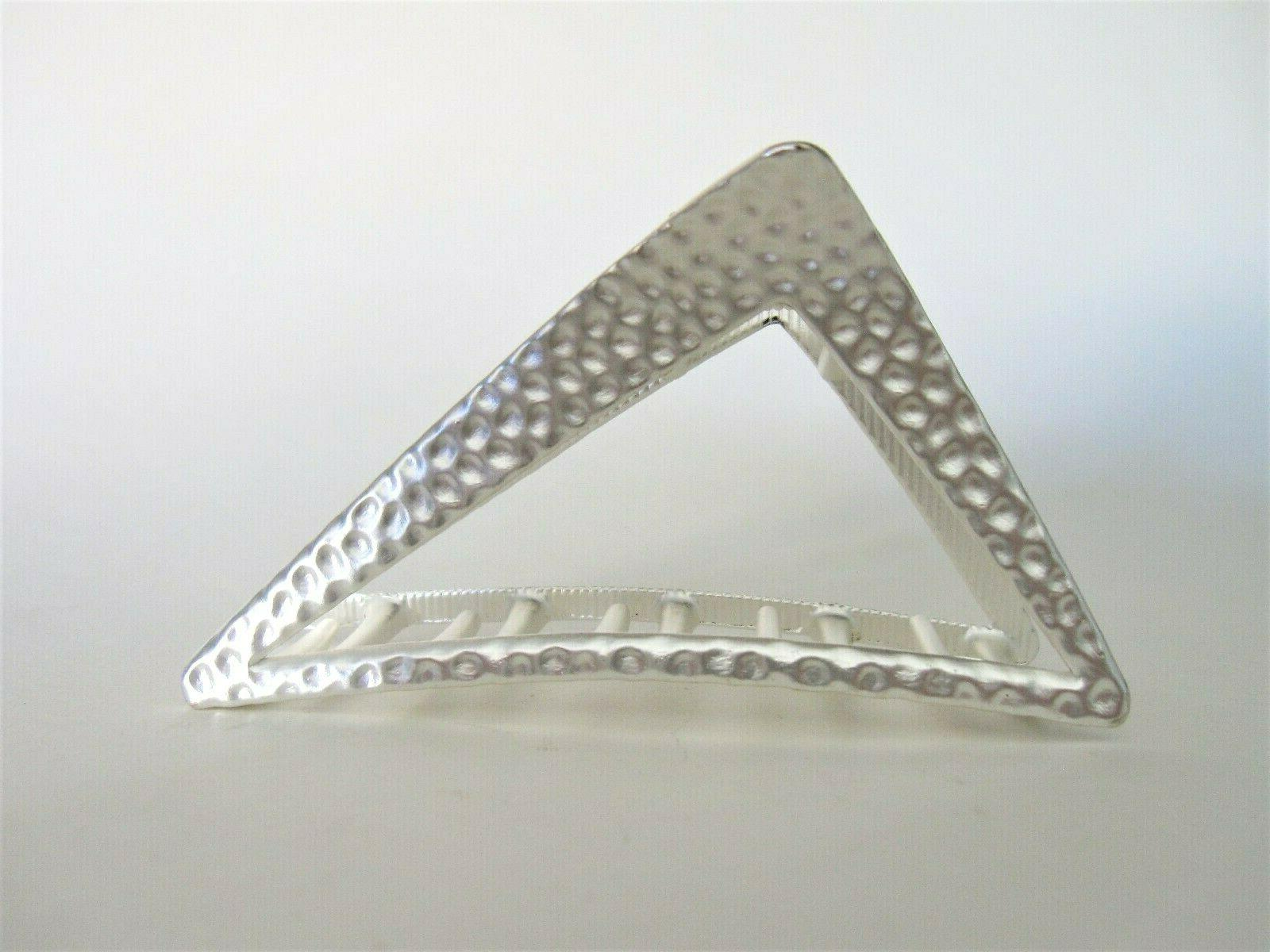 matte silver textured triangle metal hair claw