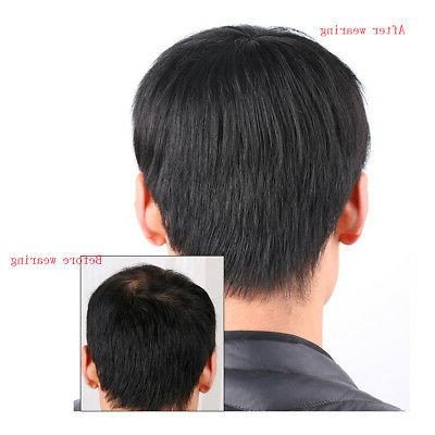 Men's Real Human Hair Topper Hairpiece Natural Wig