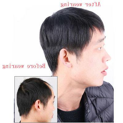 Men's Real Human Hair Clip Hairpiece Short Wig