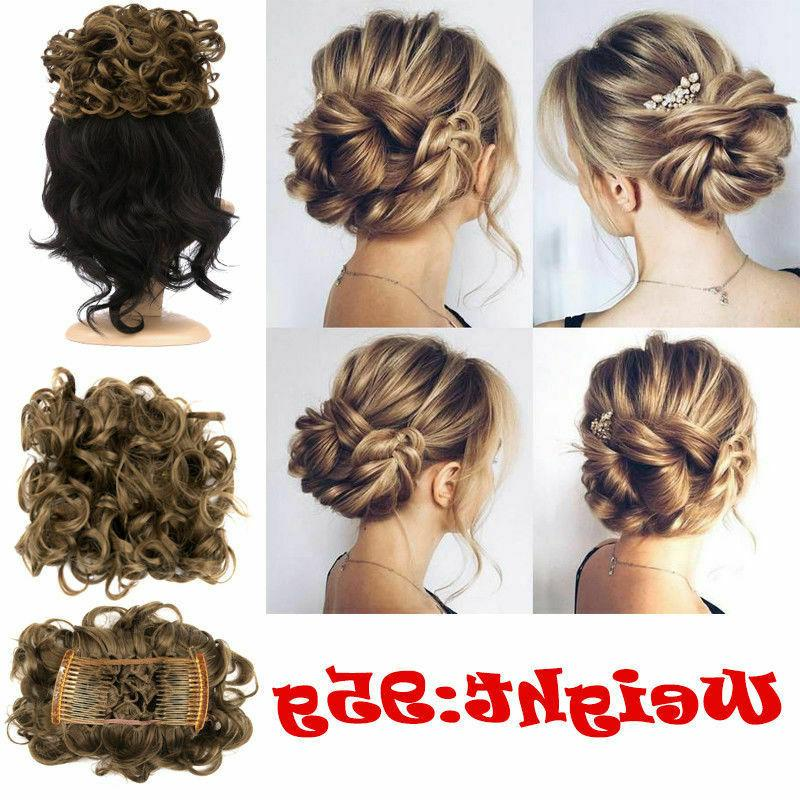 New Women Comb In Curly Chignon Hair Bun HOT