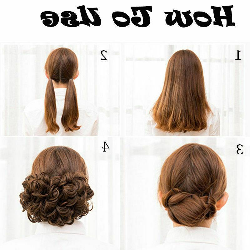 New Women Clip In Curly Chignon Hair Bun HOT