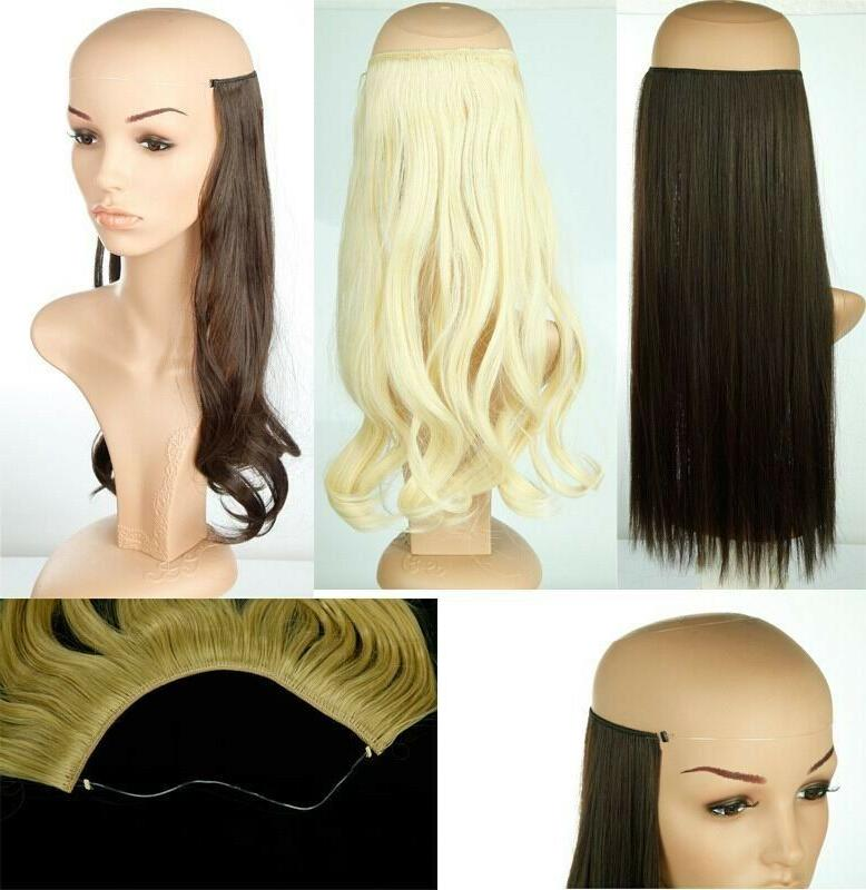 No Clips Wire Hairpiece Extensions Full Head Curly