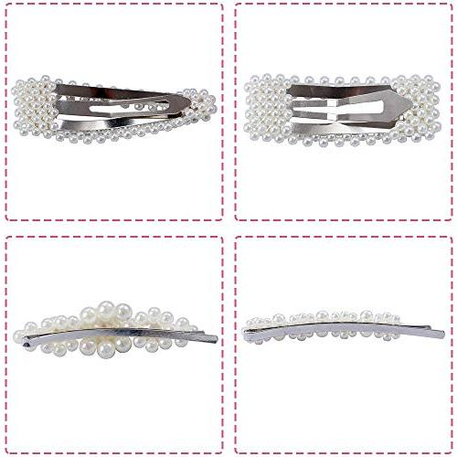 4 Pearl Clips Wedding Bridal Wrapped Hair Barrettes Accessories for
