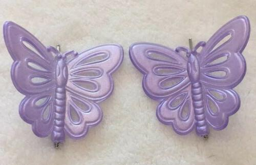 purple plastic 2 butterfly hair clips hair