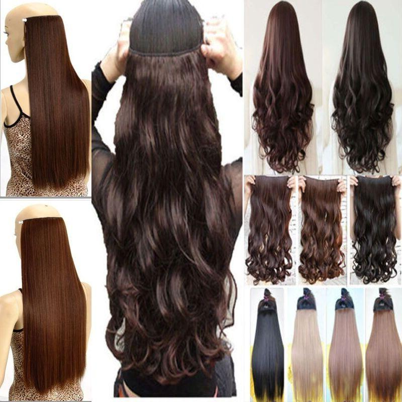 Real Thick AS Human Hair 1Piece Full Head Clip In Hair Exten