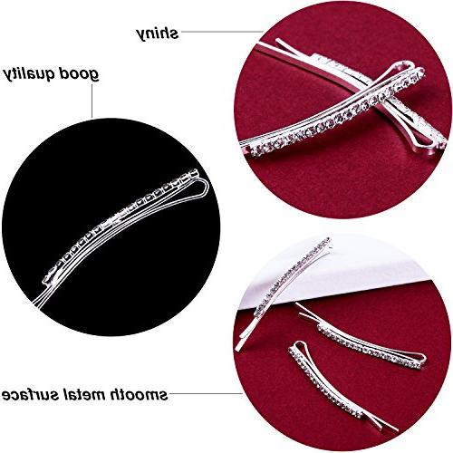 TecUnite 16 Bobby Pin Clips Clear Pin Decorations for Women