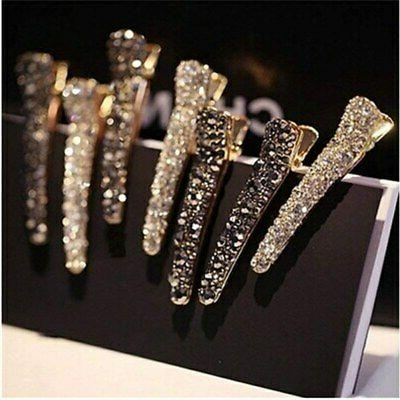 Womens Rhinestone Hairpins Alligator Hair Clips Duckbill Hea