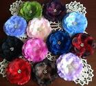SHIMMERING FLOWER HAIR BOWS W/CLEAR STONES ON CLIP, 3 1/4 IN