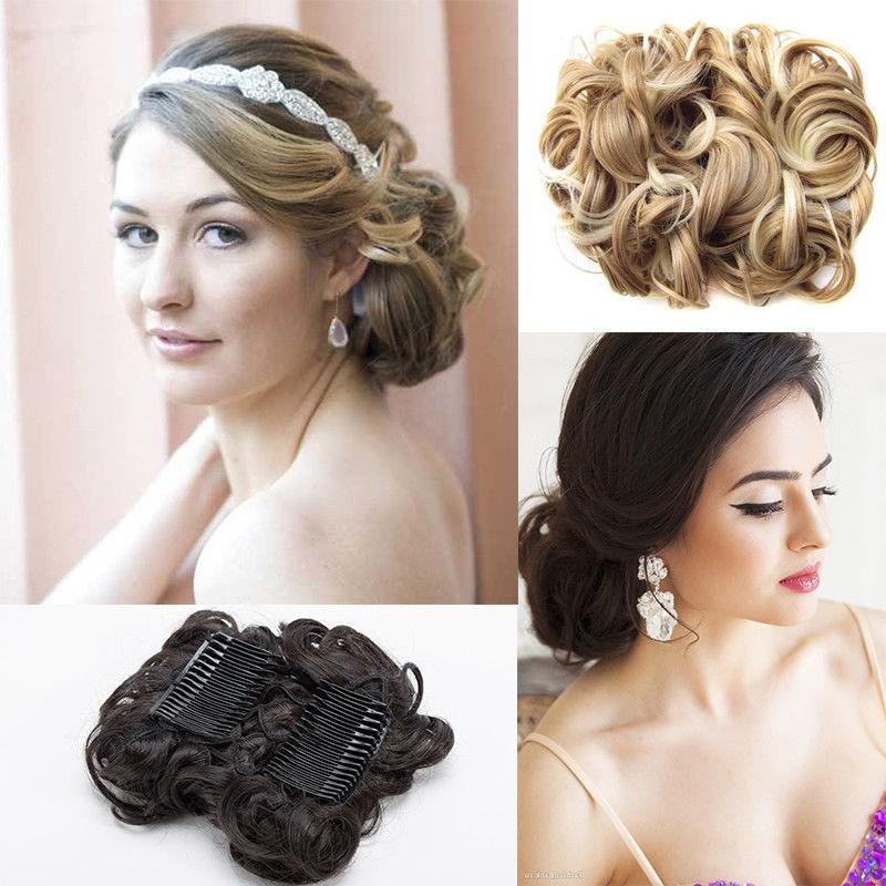 Short Messy Bun Stretch Combs Ponytail Clip in Extension
