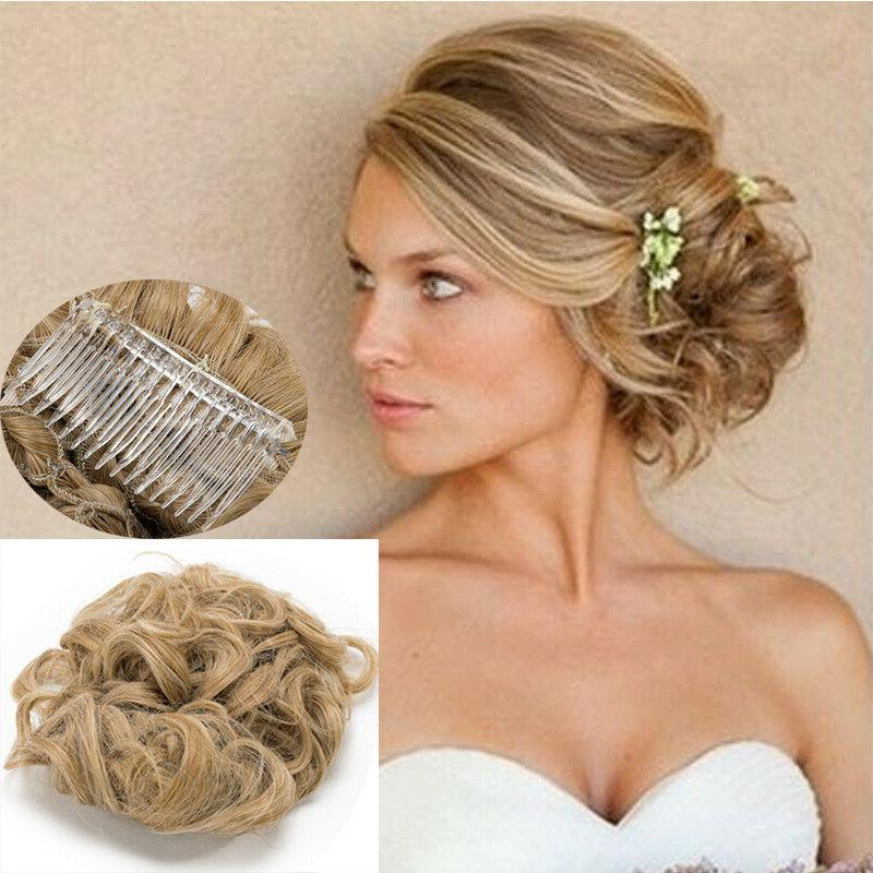 Short Messy Curly Bun Combs Ponytail Clip in Extension