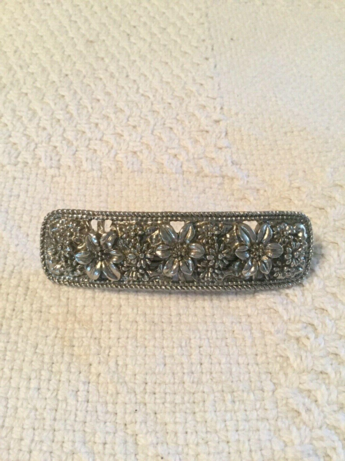 silver barrette hair clip french textured flowers