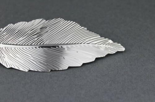 """Silver leaf curved hair 4"""" long stamped"""