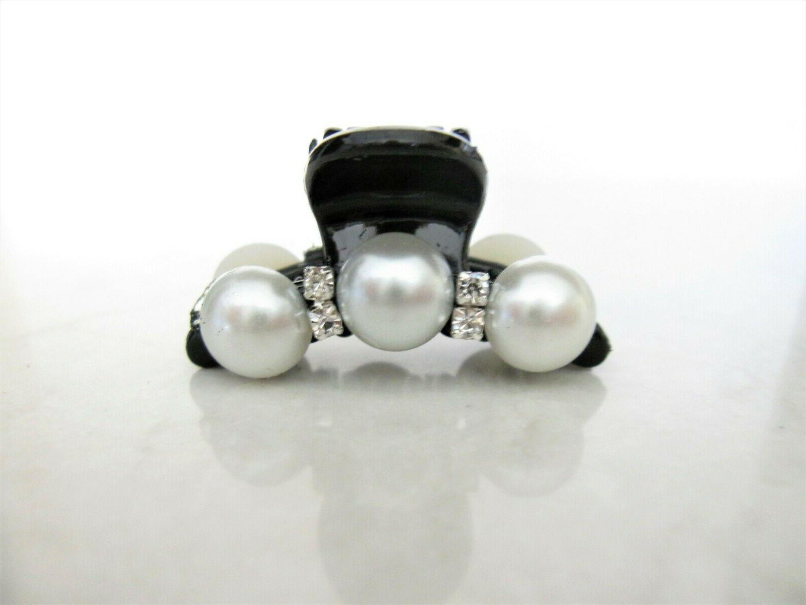 Small mini claw clip for thin hair with pearls and crystals