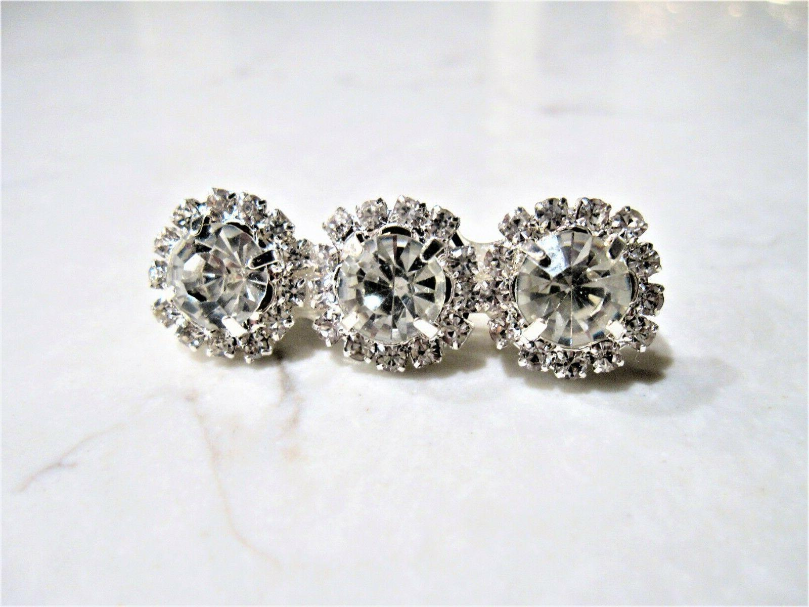 small silver crystal flower hair pin clip