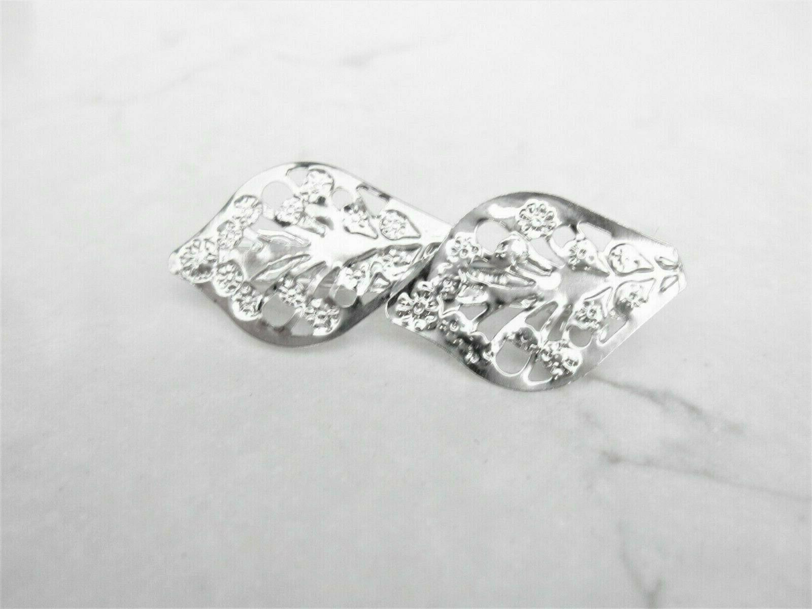 small silver double leaf hair pin clip