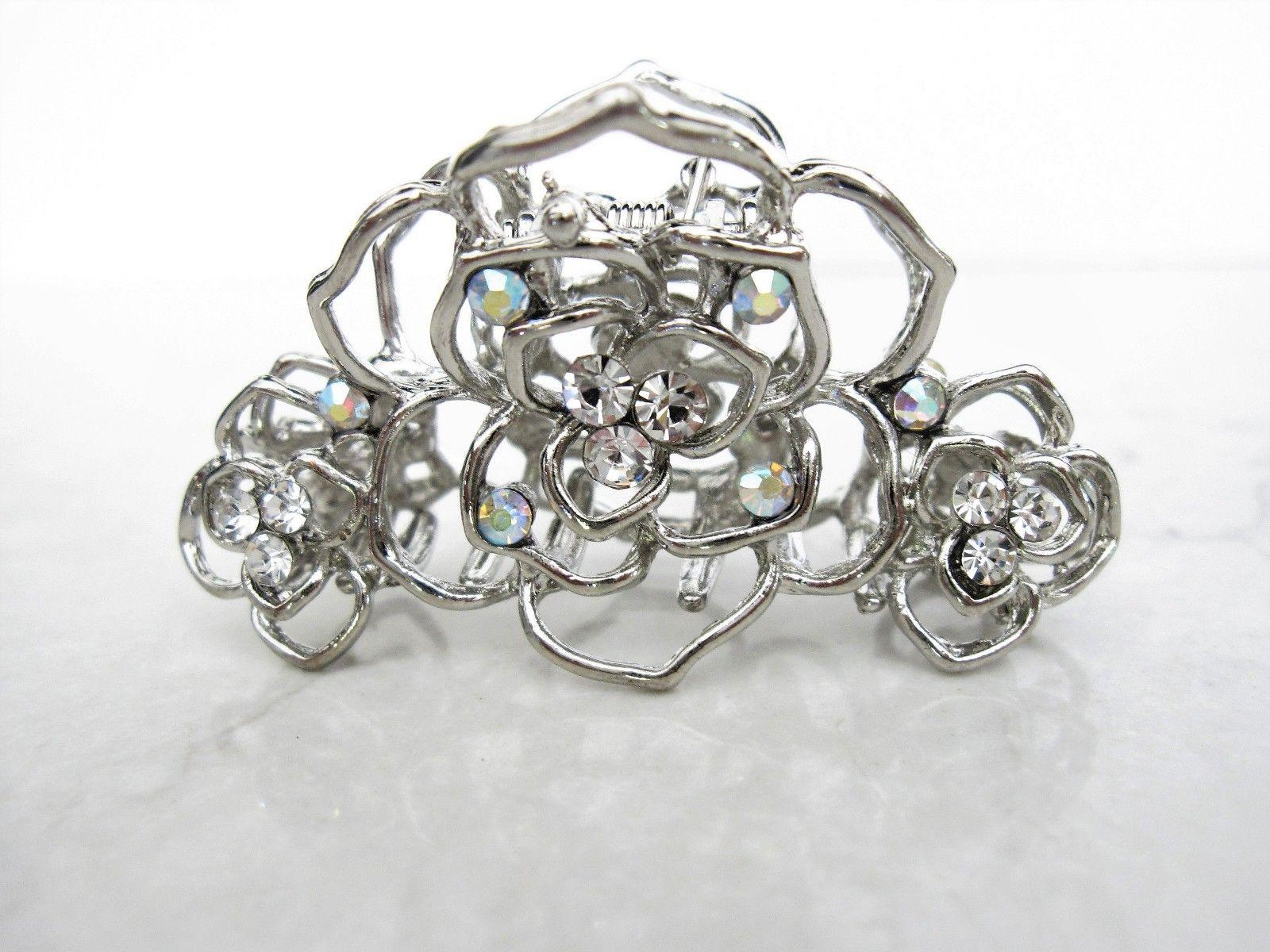 Small or metal crystal flower claw fine hair