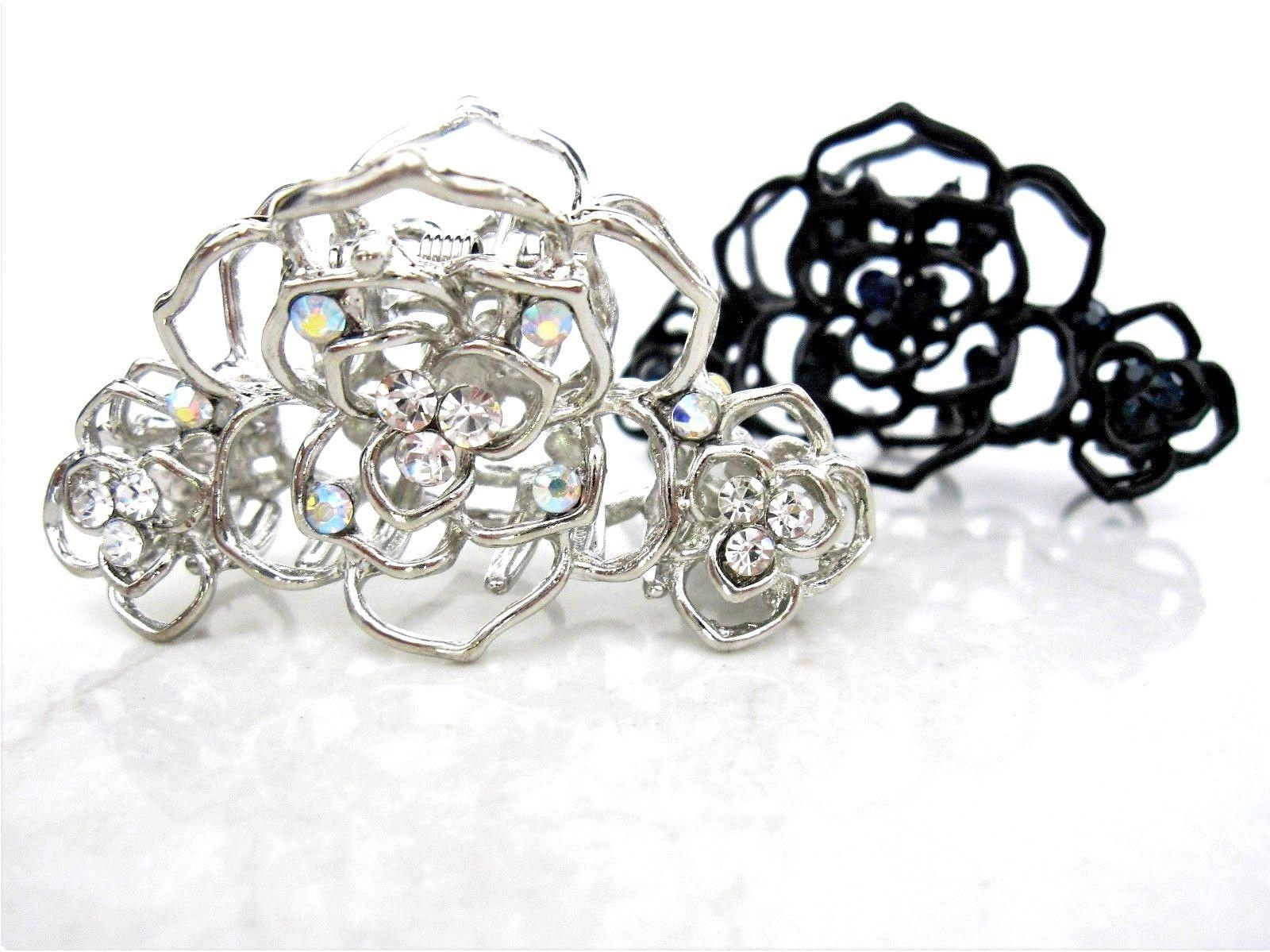 small silver or black metal crystal flower