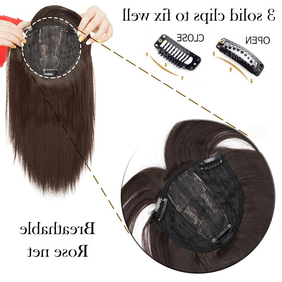 SNOILITE 11inch Synthetic <font><b>Clip</b></font> Straight topper <font><b>hair</b></font> with bangs women 8 color