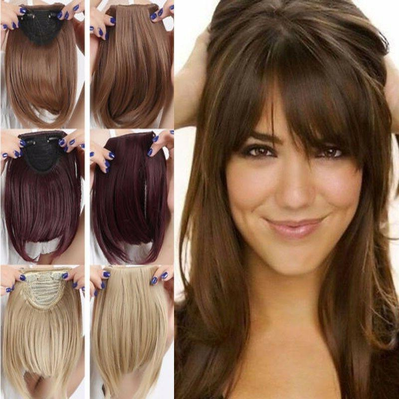 Straight Front Bangs Fringe Piece Clip In Hair Extensions Re