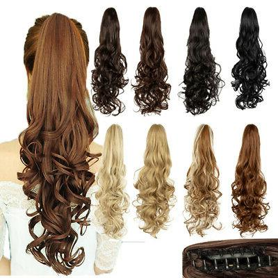 synthetic clip in pony tail hair extensions
