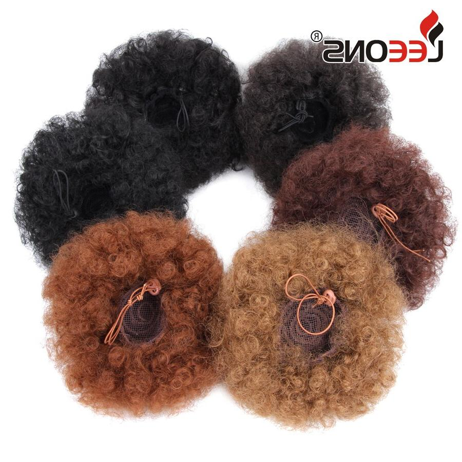 Leeons Synthetic Puff Kinky <font><b>curly</b></font> Extensions High Ponytail Brown Bun