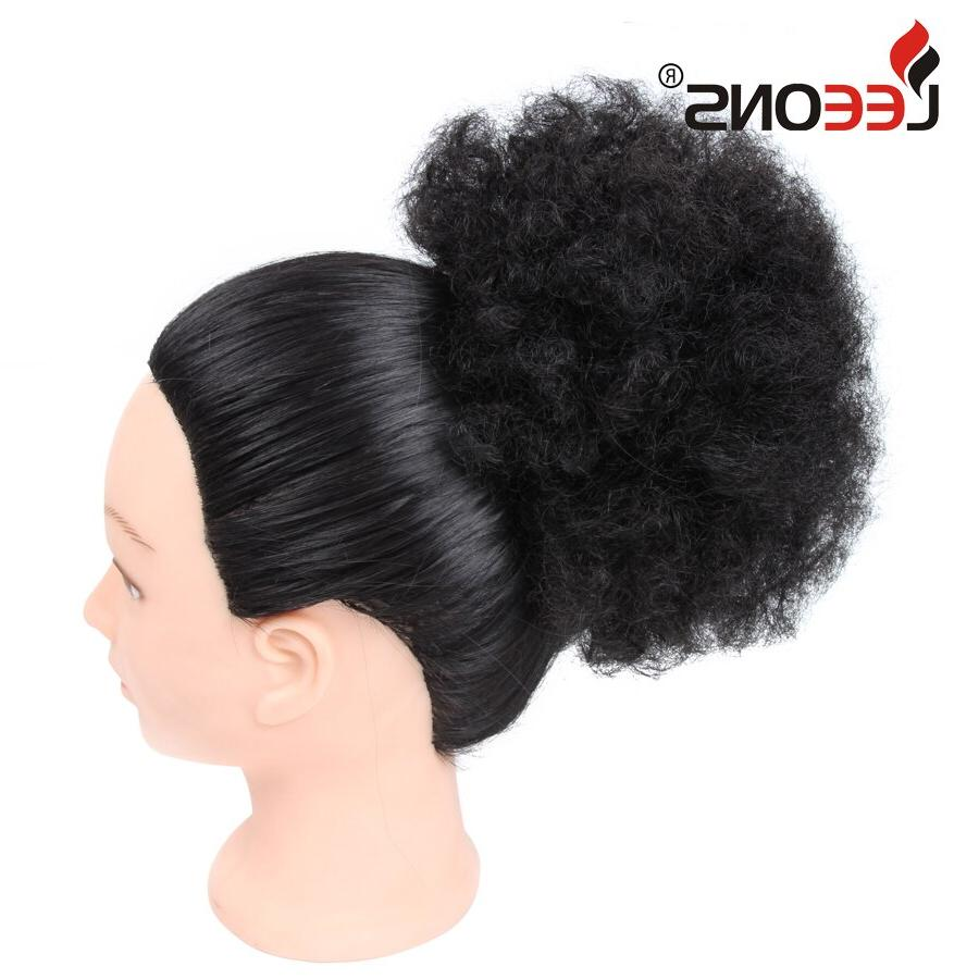 Leeons Puff <font><b>curly</b></font> Extensions High Hairpieces Brown False Fake Bun