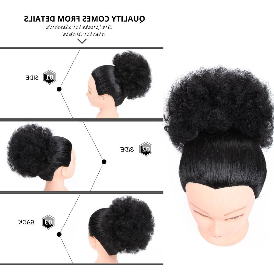 Leeons Synthetic Ponytail Puff Kinky <font><b>curly</b></font> Ponytail Extensions High Brown Fake Bun
