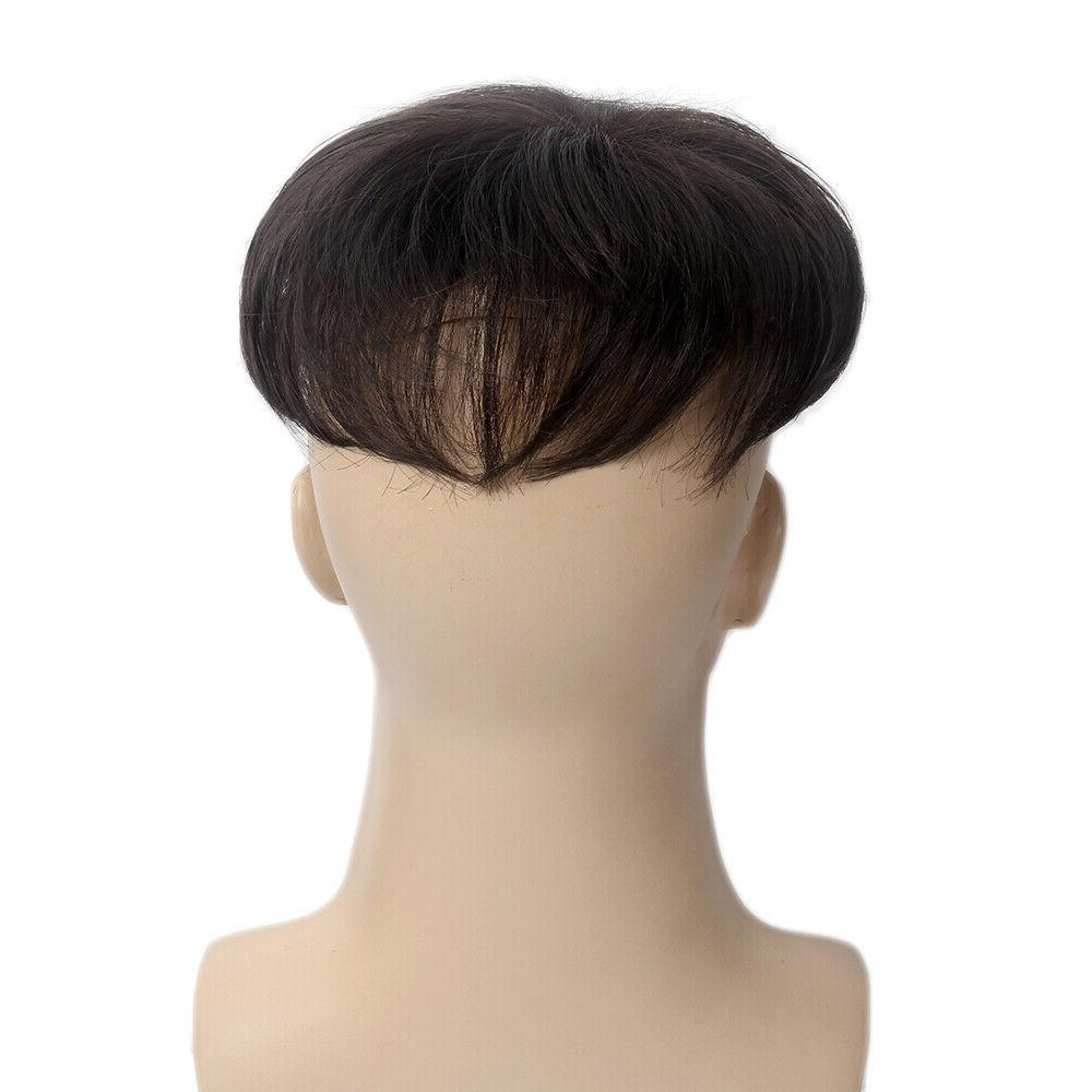 Toupee for Men Hair Replacement System with Clip Brown