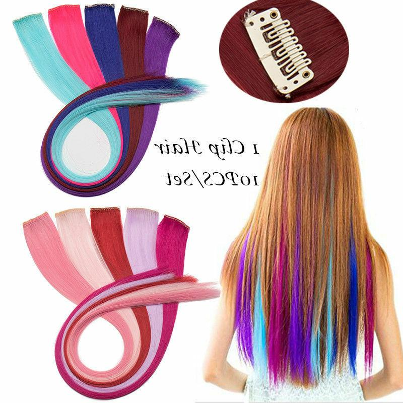 US Straight Curly Clip in Pieces Purple