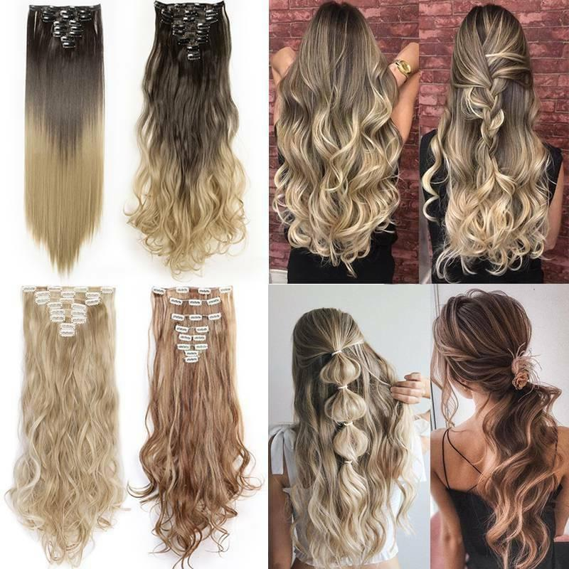 US 8 Clip In Extensions Full Head Natural As Human Real