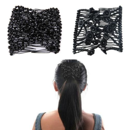 US Flexible Butterfly Hair Clip Magic Elastic Hair Comb Wome