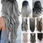 US Lady Ombre Natural as human Hair 8 Pcs Wavy Full Head Cli