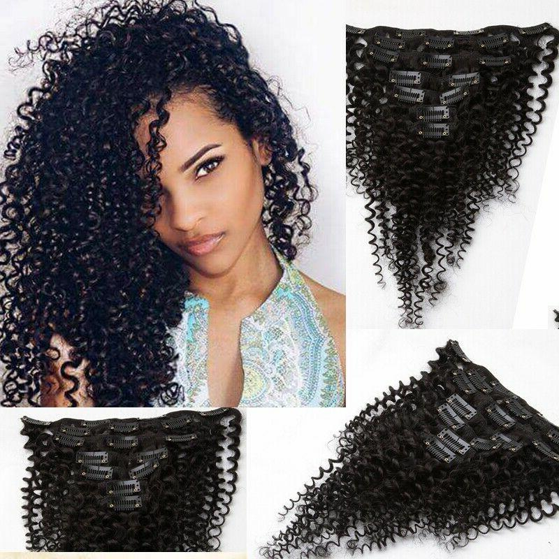 US Kinky Clip In Human Hair Extensions Weave