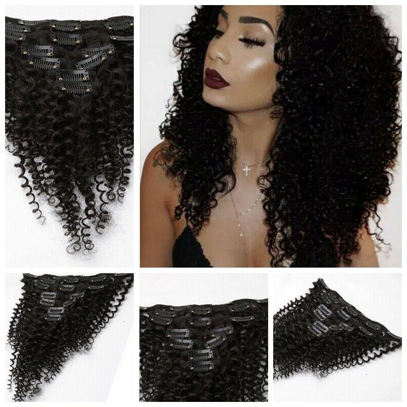 US Mongolian African Afro Kinky Clip In Hair Extensions
