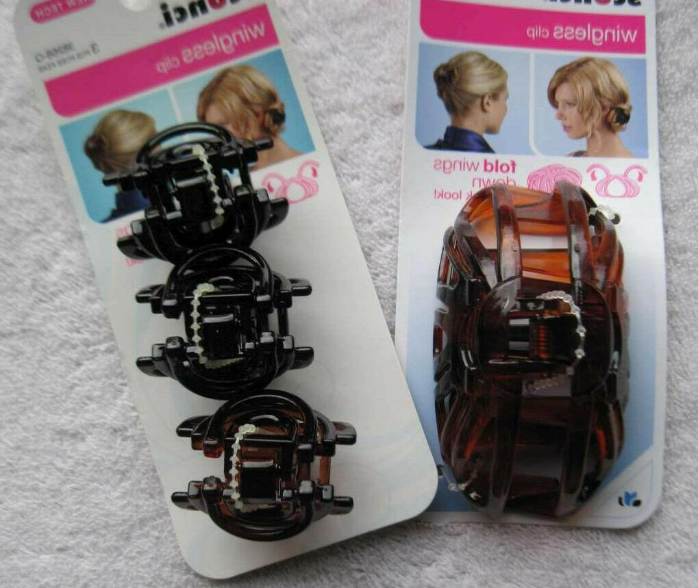 wingless clip plastic jaw hair clips black