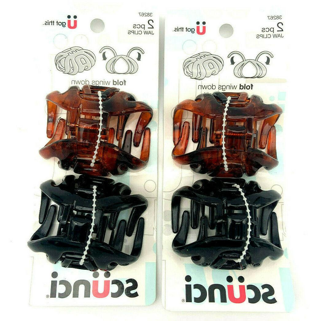 wingless jaw hair clips brown and black