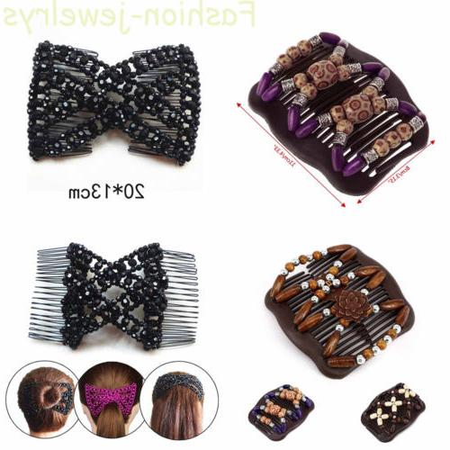 women butterfly wood beads double side hair
