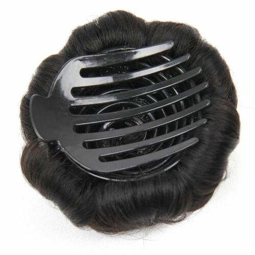 Women Curly Bun Clip In Extension New