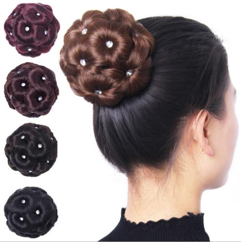 women curly hair bun clip comb in