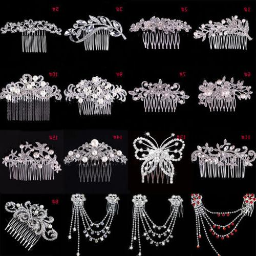 Women Flower Crystal Rhinestone Hairpin Bridal Wedding Hair