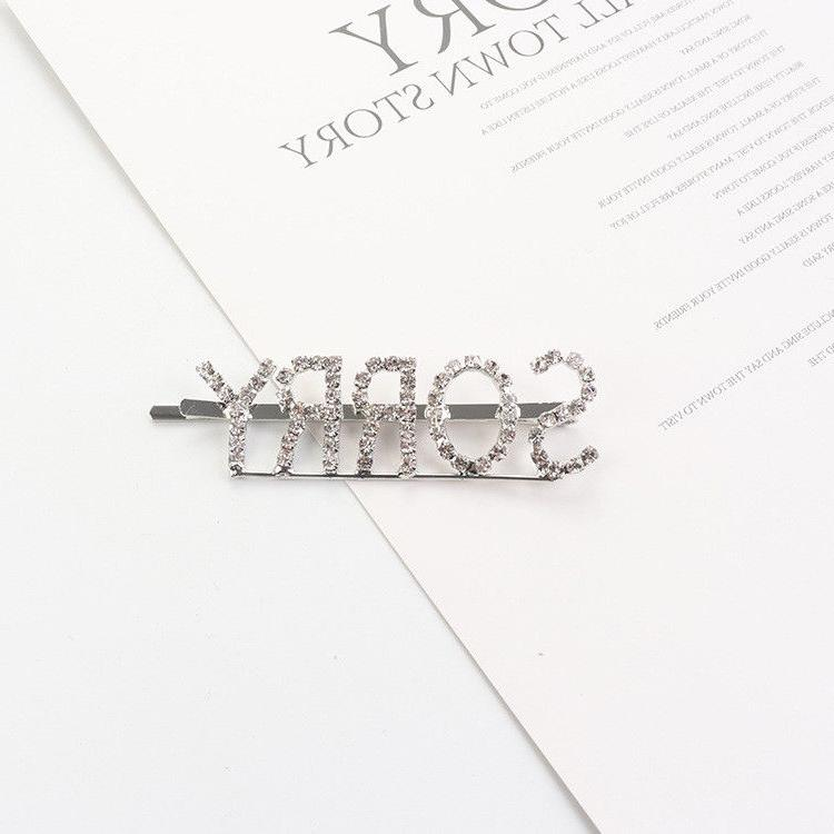 Women Girls Crystal Words Hairpin Hair Headwear
